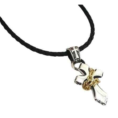 cross leather cord necklace
