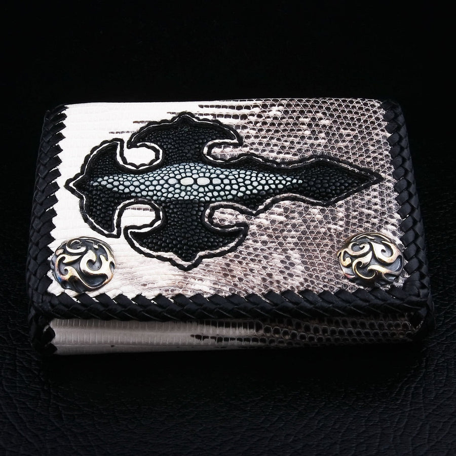 gothic cross exotic leather wallet