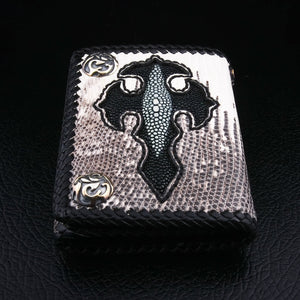 Cross Lizard Leather Chain Wallet