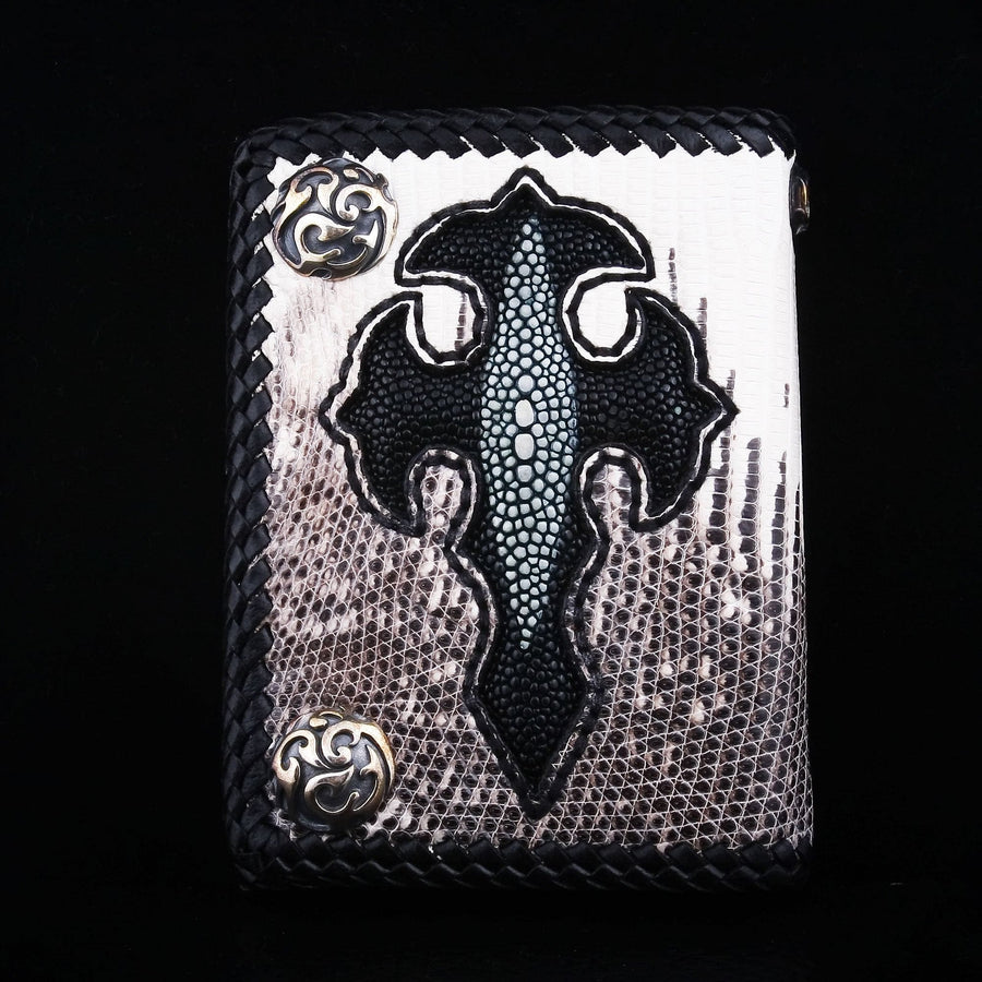genuine lizard leather chain wallet