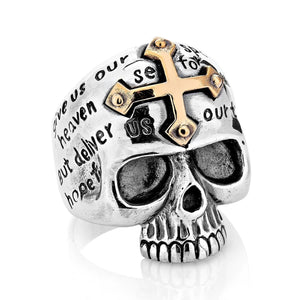 silver cross skull ring