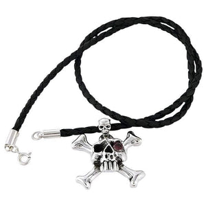 silver skull crossbones pendant leather necklace