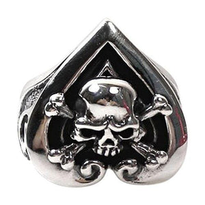 heart ace skull bone ring