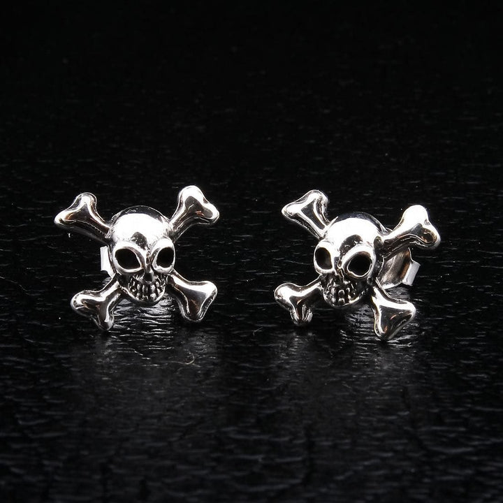 silver skull crossbones stud earrings