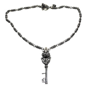 crown silver men's necklace