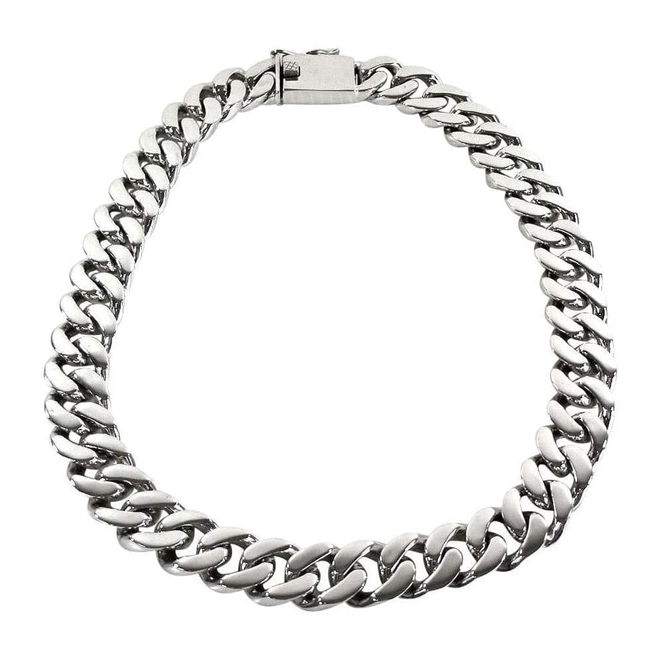 mens finish cuban men necklace chain set i sliver bracelet matching stainless matte steel s w