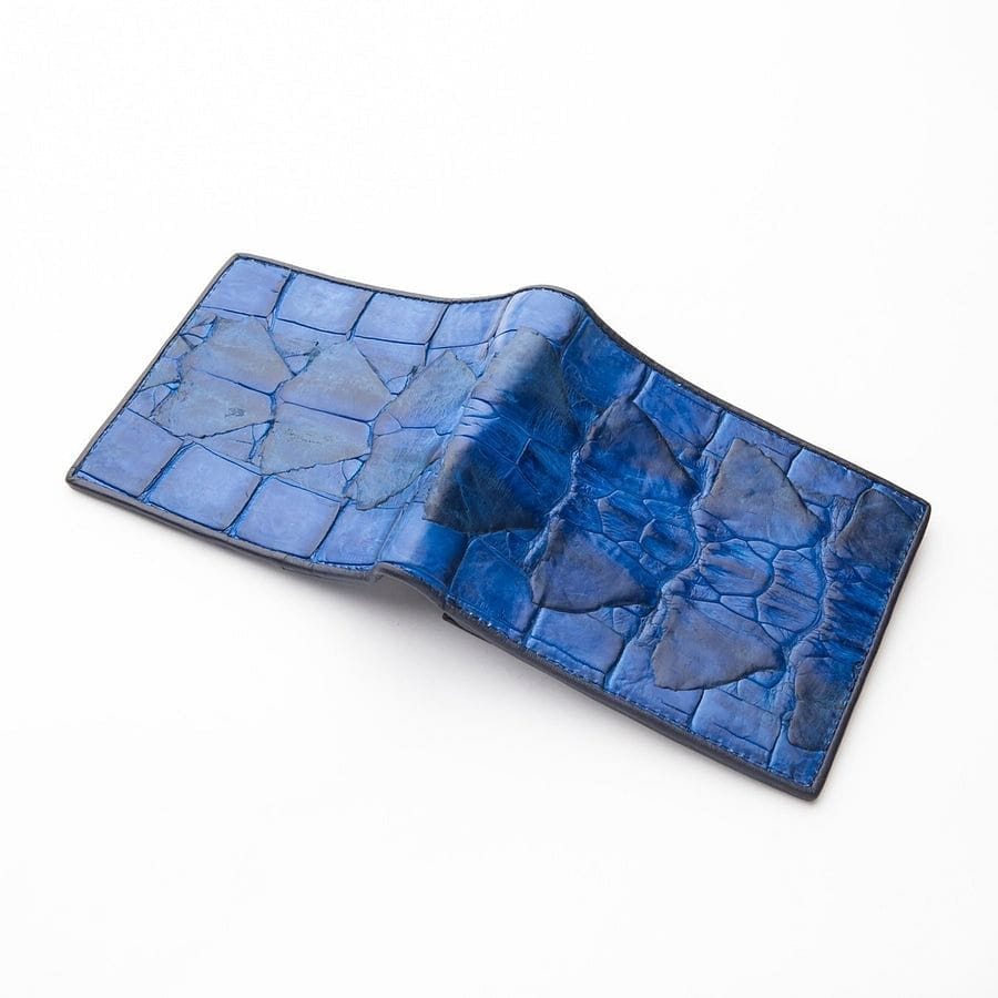 genuine blue crocodile leather wallet