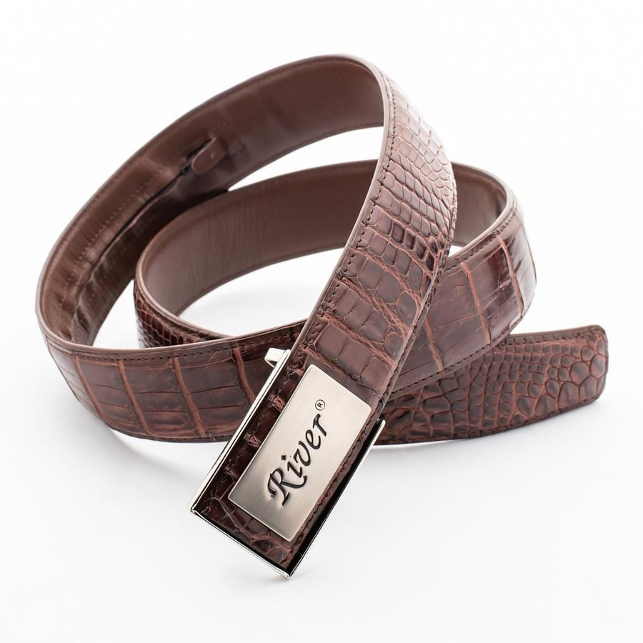 real dark brown crocodile leather belt