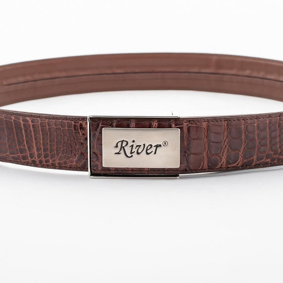Dark Brown Alligator Crocodile Stomach Belt