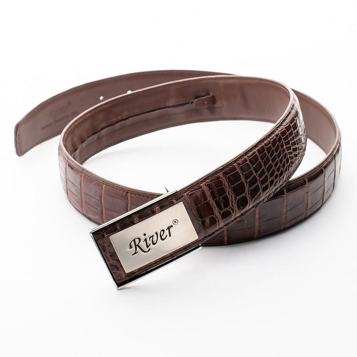 river genuine dark brown alligator belt