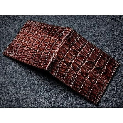 Dark Brown Big Tail Crocodile Wallet-Bikerringshop