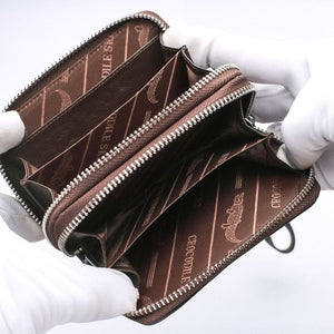 Dunkelbraune Crocodile Backbone Skin Wallets