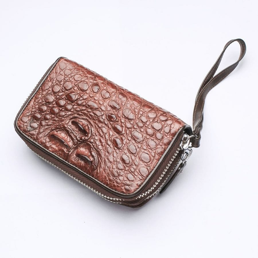 Dark Brown Crocodile Backbone Skin Wallets