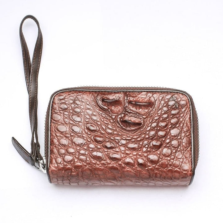 crocodile backbone zipper wallet