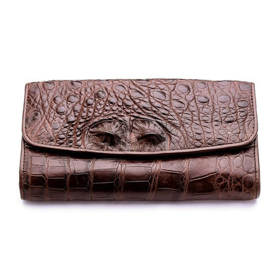 Dark Brown Genuine Crocodile Bone Skin Womens Wallet