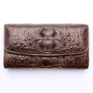Dark Brown Genuine Crocodile Hornback Skin Womens Wallet