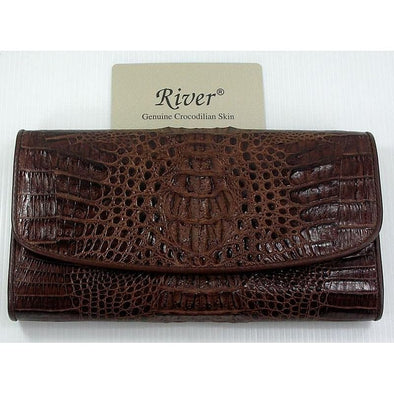 Dark Brown Genuine Crocodile Trifold Wallet