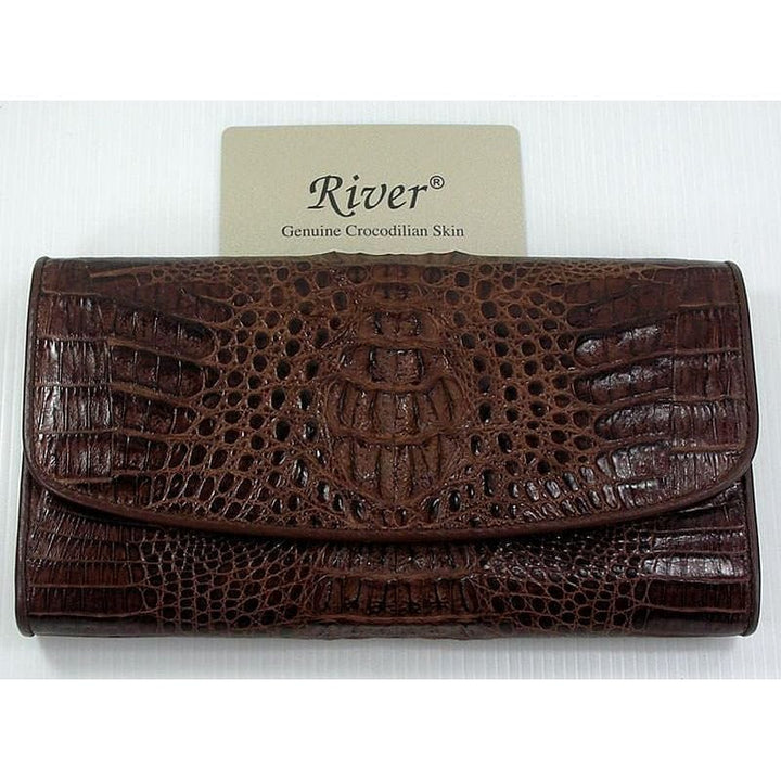 dark brown crocodile trifold wallet
