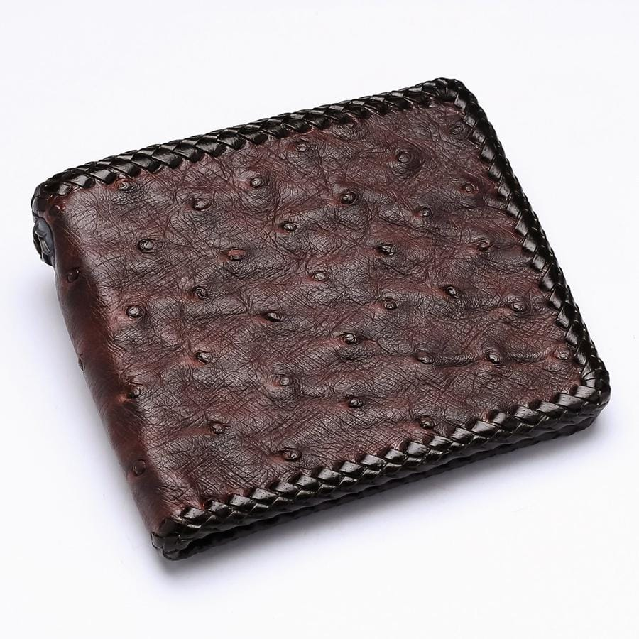 Dark Brown Ostrich Leather Biker Wallets