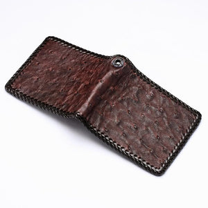 real ostrich leather wallet