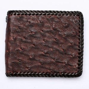 dark brown ostrich skin wallet