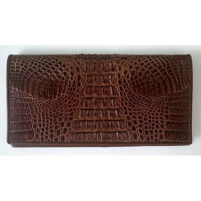 Dark Brown Tail Crocodile Long Wallet