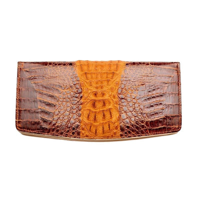 Dark Brown Twotone Crocodile Long Wallet