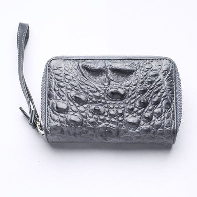 Dark Gray Crocodile Backbone Skin Wallets