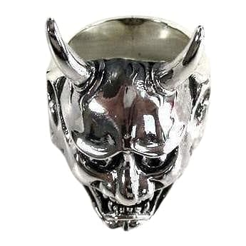 Sterling Silver Oni Mask Demon Ring