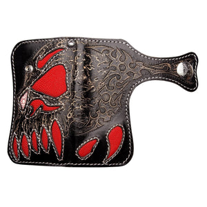 large demon stingray leather carved biker wallet