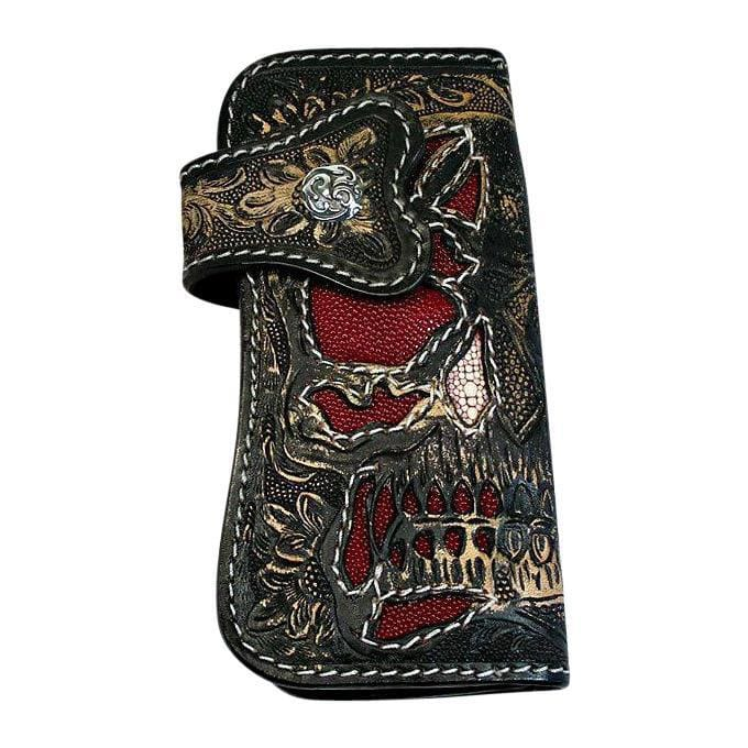 demon tooled leather wallet