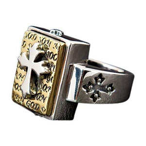 gintong taga-disenyo ng cross ng sterling silver mens ring