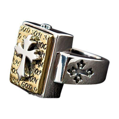 gold designer cross mens ring