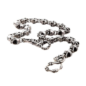silver devil skull wallet chain