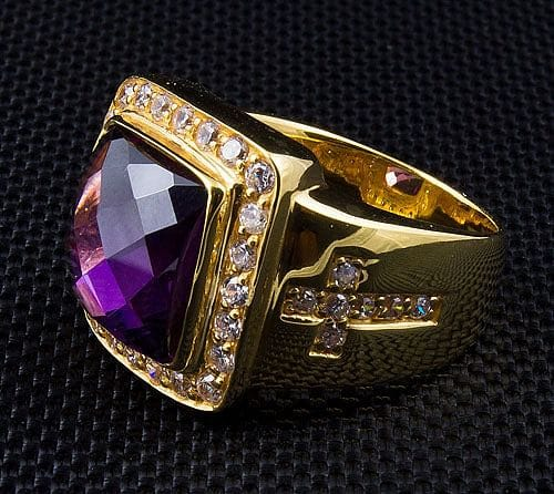 Diamond Cross Bishop Ring