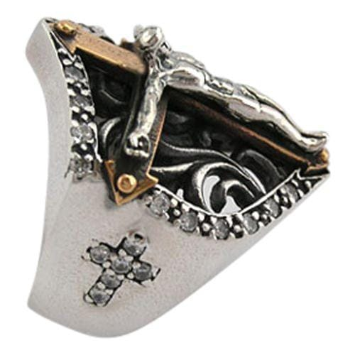 Diamond jesus mens cross ring