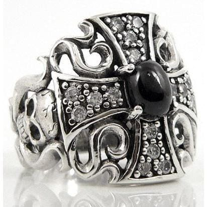 gothic black star ring
