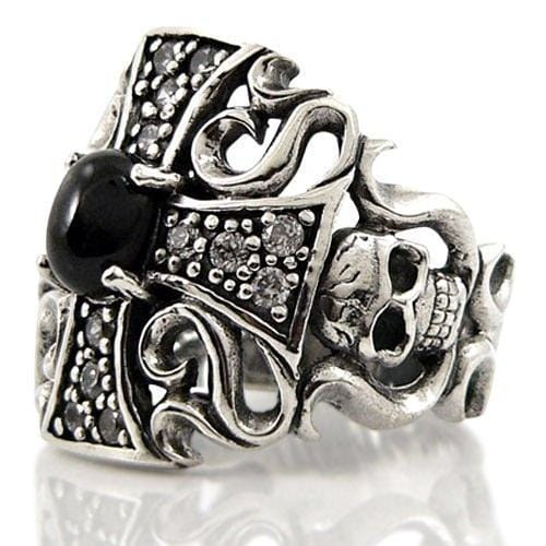 black star cross silver ring