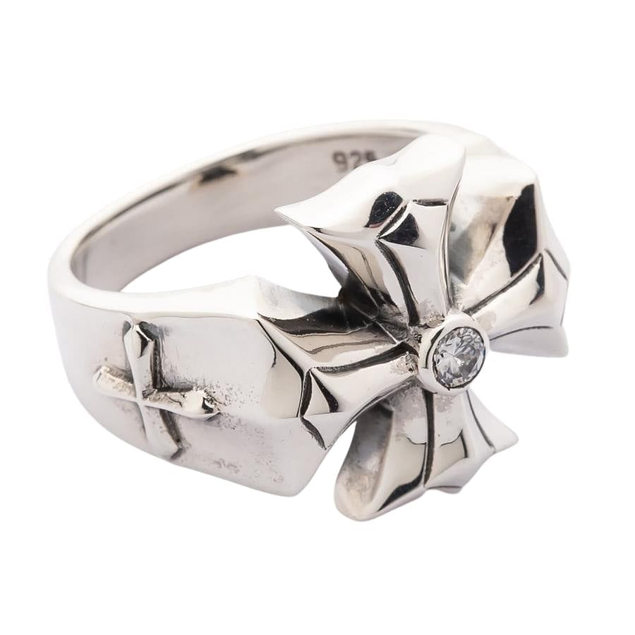 Diamond Cross Silver Mens Ring
