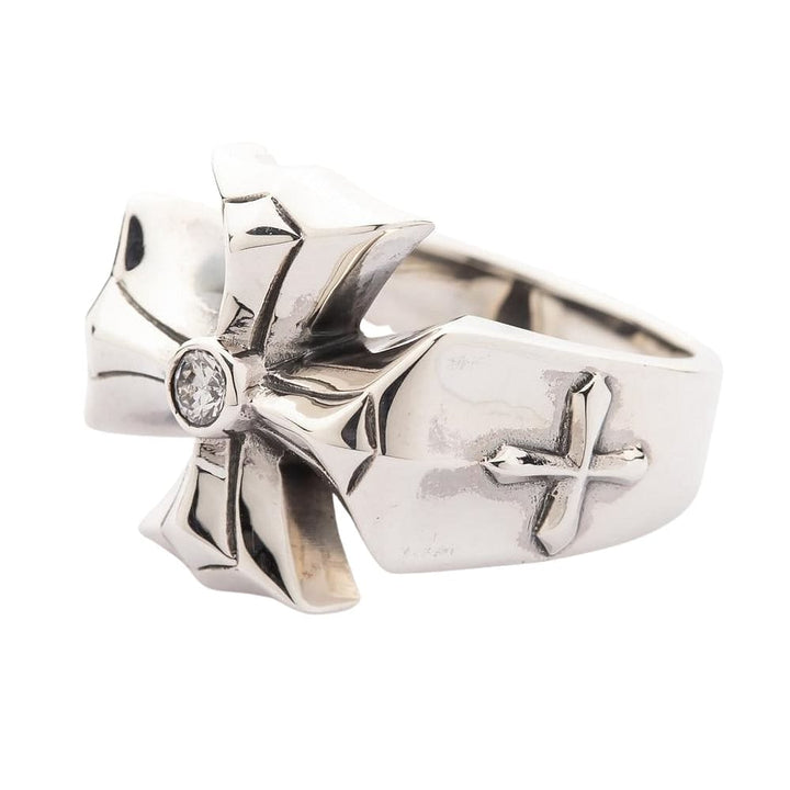 diamond cross sterling silver men's ring