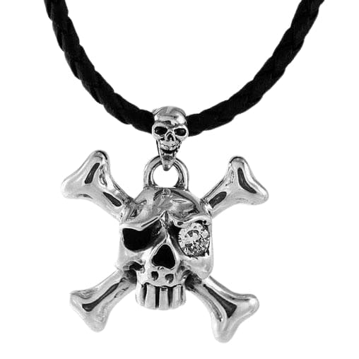 silver skull crossbones pendant necklace