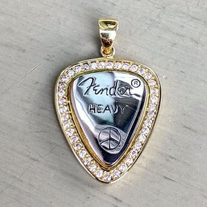 sterling silver diamond guitar pick pendant