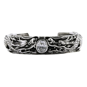 925 sterling silver dragon men biker cuff
