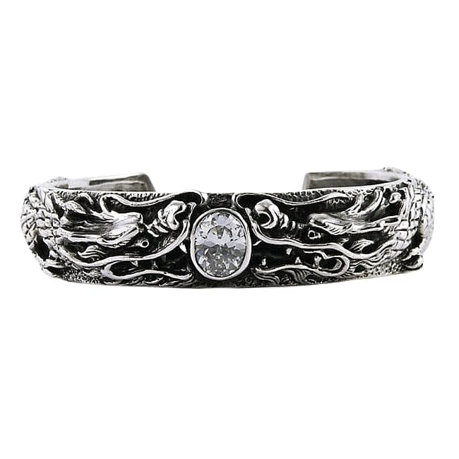 925 sterling silver dragon men's biker cuff