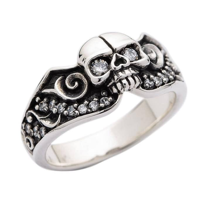 tribal silver skull engagement rings