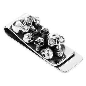 diamond skull sterling silver money clip