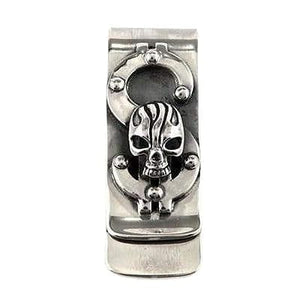 skull sterling silver money clip