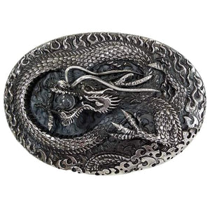 sterling silver biker dragon belt buckle