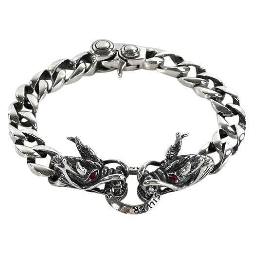 red eyes silver men's dragon bracelet