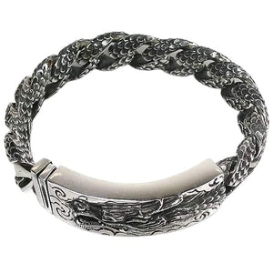 Japanese dragon carved id bracelet